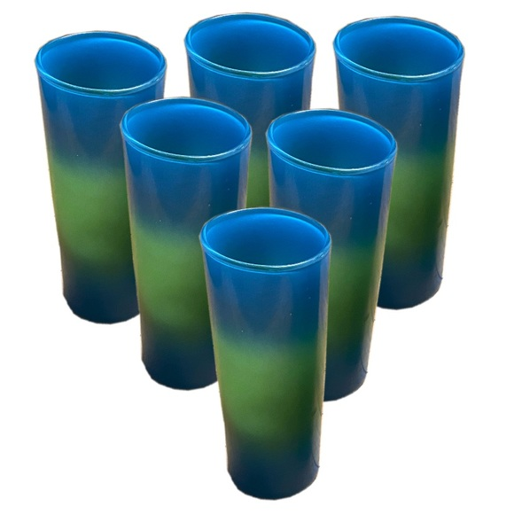 Vtg. Set of 6 Dip dyed glass tumblers